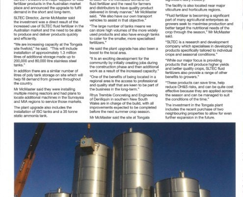 Major Benefits with Investment in Fluid Fertilizer Enterprise
